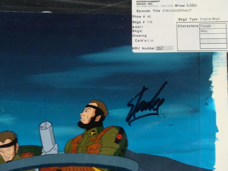 X-MEN Background Original Signed Cel Animation Stan Lee - 2