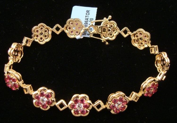 1.58 CT 12.60g 925 Silver Sapphire Bracelet Gold-Toned