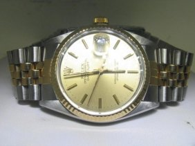 Mens Rolex Pre-Owned Gold Dial & Bezel Date Just Watch