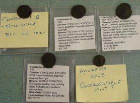 5 Roman Ancient Coins Arcadius Vows Constantine