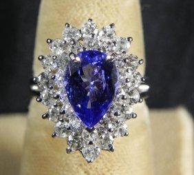 1.90 CT Tanzanite & 1.43CT Diamond 14K White Gold Ring