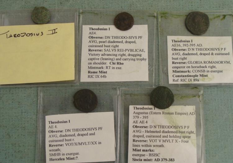 5 Roman Ancient Coins Theodosius I, II