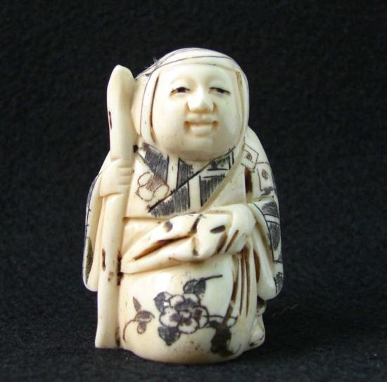 MWF1542I Handcarved Ox Bone Netsuke Figure