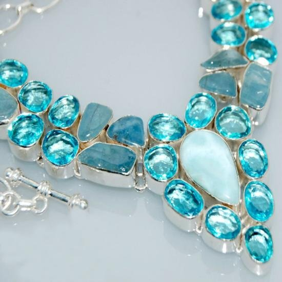 Chunky Blue Topaz & Aquamarine Gemstones and Sterling