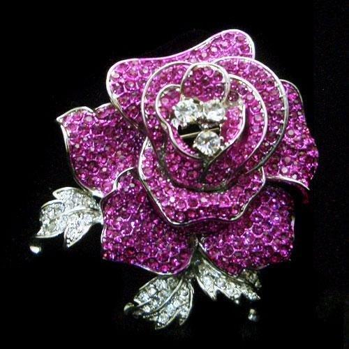 Gorgeous Fuchsia Swarovski Crystal Rose Flower Pin Broo