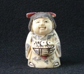 MWF1542J Handcarved Ox Bone Netsuke Figure