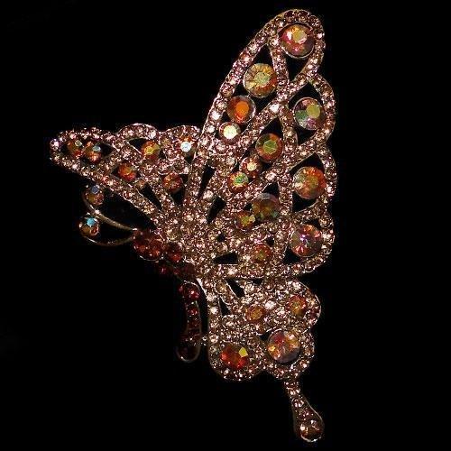 Swarovski Crystal Golden Butterfly Brooch Pin