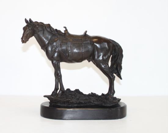Gorgeous Bronze Sculpture Saddled Horse