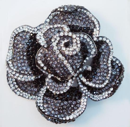 STUNNING 4 Inch Swarovski Crystal Floral Rose Brooch