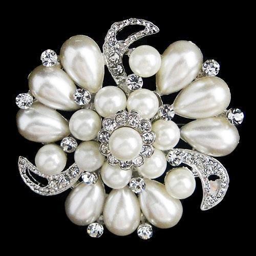 Vintage Style Pearl and Swarovski Crystal Floral Drop B