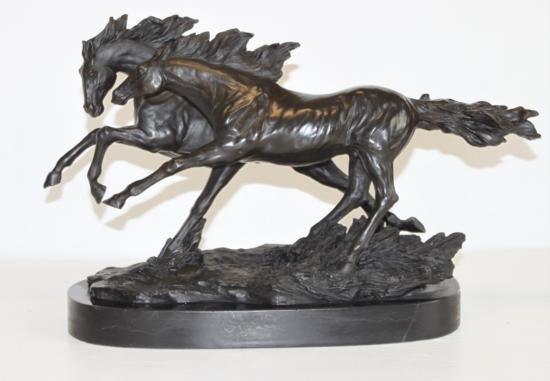 Beautiful Bronze Sculpture Two Running Horses