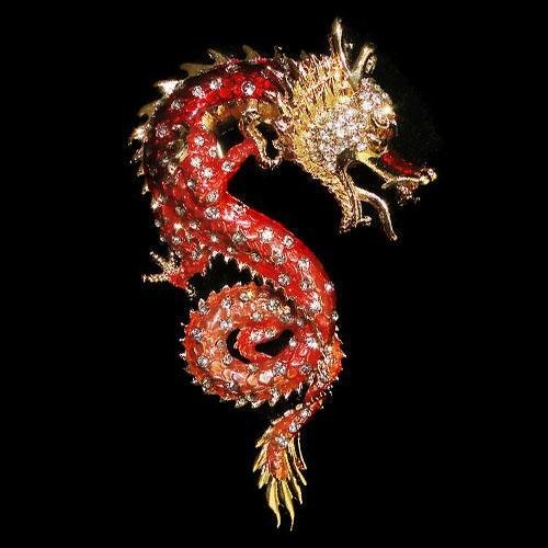 Swarovski Crystal Chinese Dragon Brooch Pin