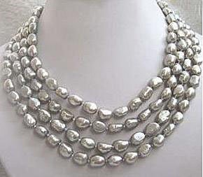 Sensational 8-9MM Natural Tahitian Gray Pearl Necklace