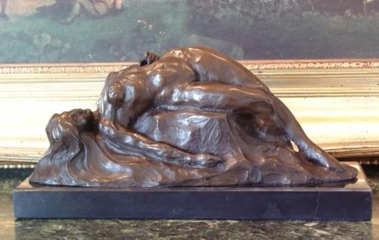 Lovely Bronze Sculpture Reclining Goddess