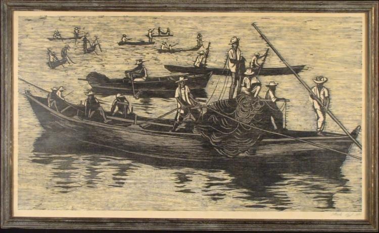 Moshe Gat Large Signed Israel Framed Print Men In Boats