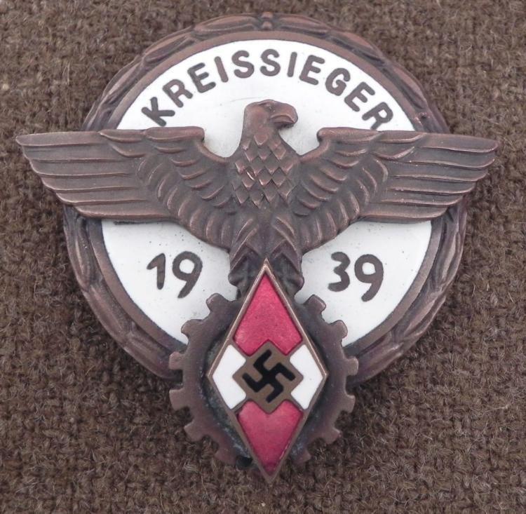 WWII Repro Nazi Kreissieger Hitler Youth Medal Badge