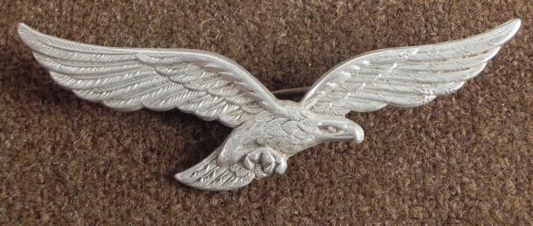 WWII Nazi Luftwaffe Hat Eagle, 2 Brass Pins Intact Orig