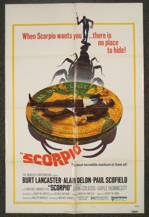 Scorpio Original 1 Sht Movie Poster Burt Lancaster 1973