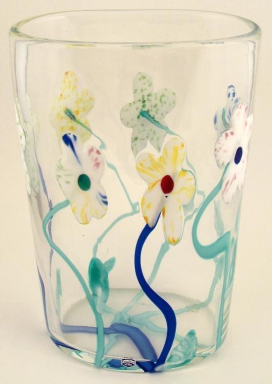 Murano Fabio Cosi Signed Art Glass Vase Clear w/Flowers