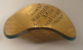 Stephen Schlanser SHALOM Gold Judaic Art Glass Bowl