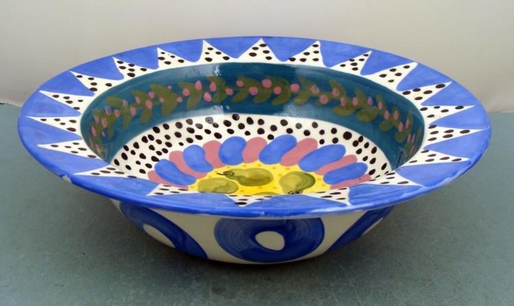 Lynn Morris Hand Painted Ceramic Pear Fruit Bowl