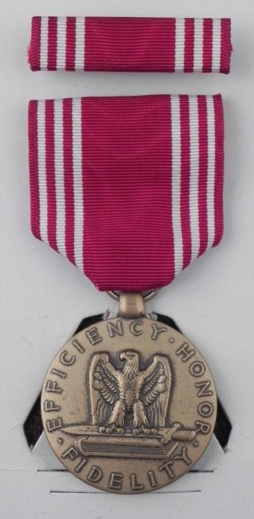WWII NAMED GOOD CONDUCT MEDAL & RIBBON BAR NAMED