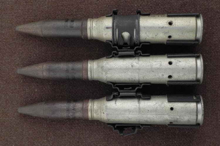 STRIP OF 3 20MM INERT SHELLS FOR USE IN A MK12 GUN