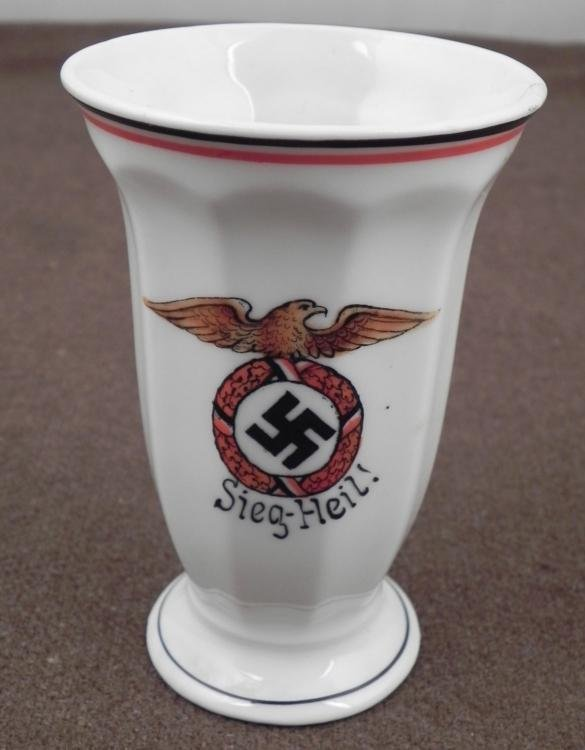 "RARE ORIGINAL EARLY NAZI GOBLET-4"" TALL-EAGLE&SWASTIKA"