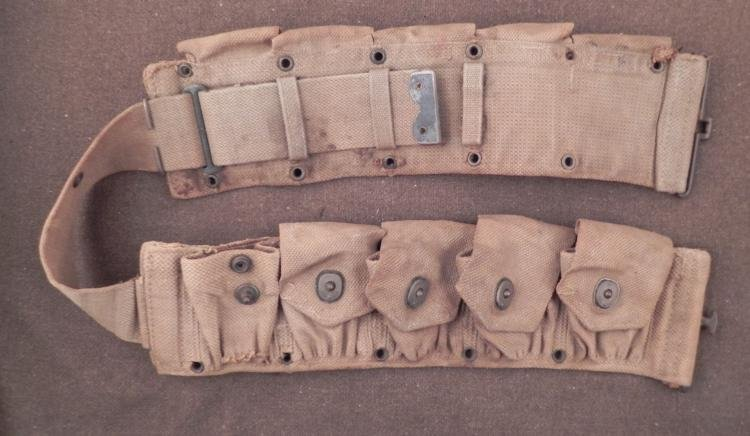 "ORIG WWI 10 POUCH AMMO BELT-MKD ""AS5"" BRASS W/CANVAS"