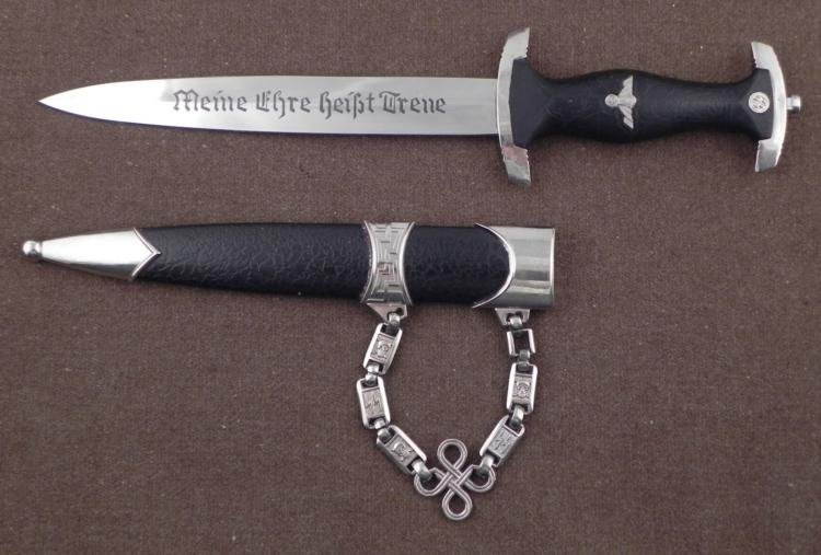 VINTAGE CHAINED SS DAGGER-REPRO-BLADE W/DEATH HEADS