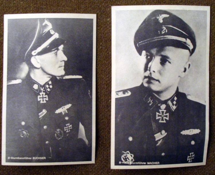 2 NAZI SS OFFICERS POSTCARDS ORIGINAL- MACHER & BUCHNER