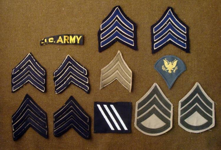 COLLECTION OF 12 PATCHES-MOSTLY UNIFORM CHEVRONS