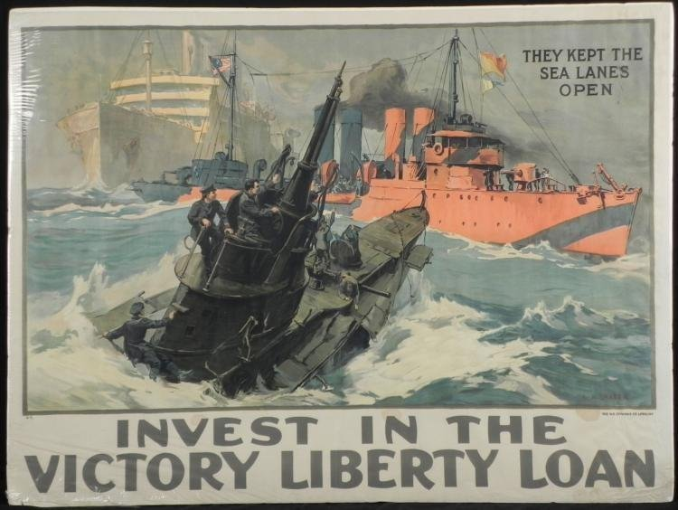 WWI ORIGINAL POSTER INVEST IN THE VICTORY LIBERTY LOAN