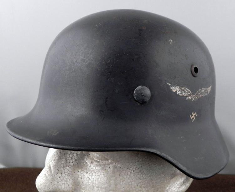 German Luftwaffe Nazi Double Decal Helmet WWII Named