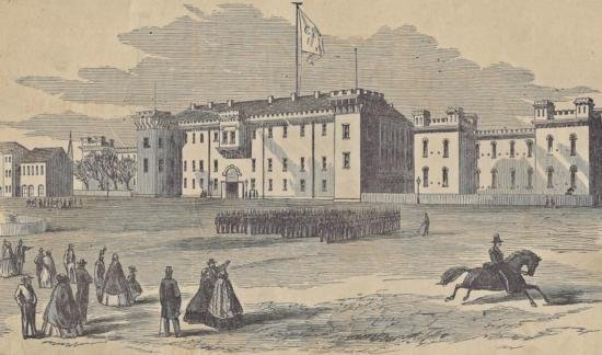 ORIGINAL Antique PRINT scene Military Academy The Cita