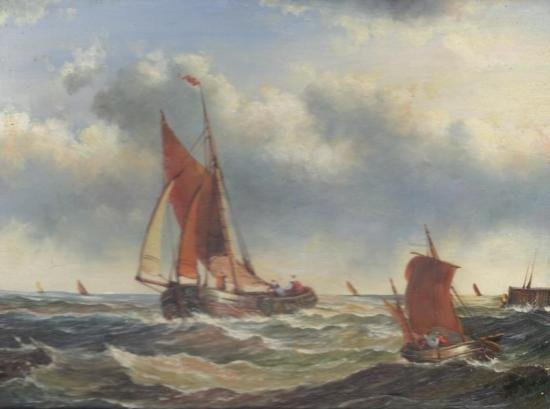 MWF1383L 5x7 Oil on Board Depiciting Sailboats at Sea S