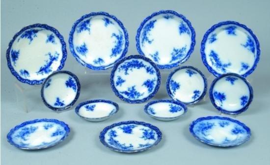 Thirteen Pieces Flow Blue Ironstone Tableware