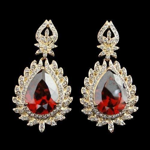 Red Swarovski Crystal Teardrop style dangle Pierced Ea
