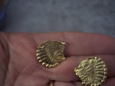 Gold Clip Back Lions Head Earrings Alva Museum mwf2002