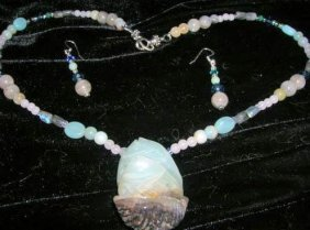 Lovely Hand Carved Amazonite Fish Pendant And Bead Neck