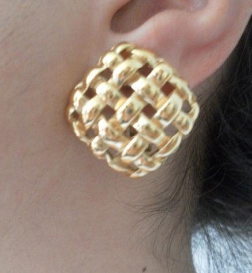 VINTAGE GIVENCHY FRENCH HAUTE COUTURE LATTICE EARRINGS