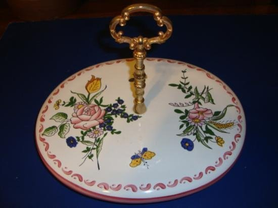 French hand painted earthenware cheese platter signed b