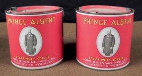 1926 PRINCE ALBERT CRIMP CUT BURNING PIPE TOBACCO CANS