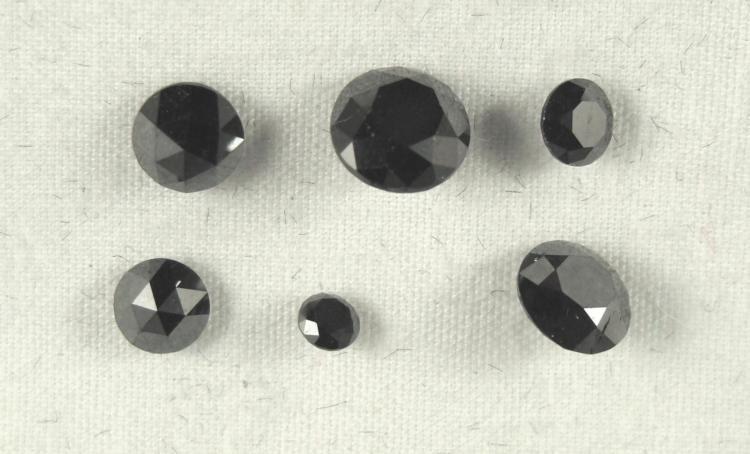 Six Loose Black Diamonds Totaling 3.86 Carats
