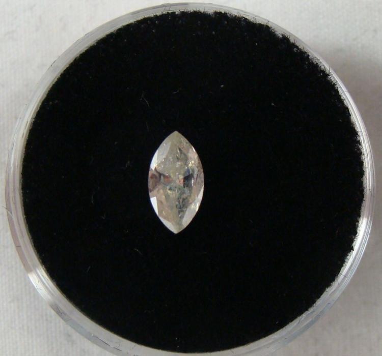 .46 Carat Yellow Diamond I-2 Clarity Marquise Shape