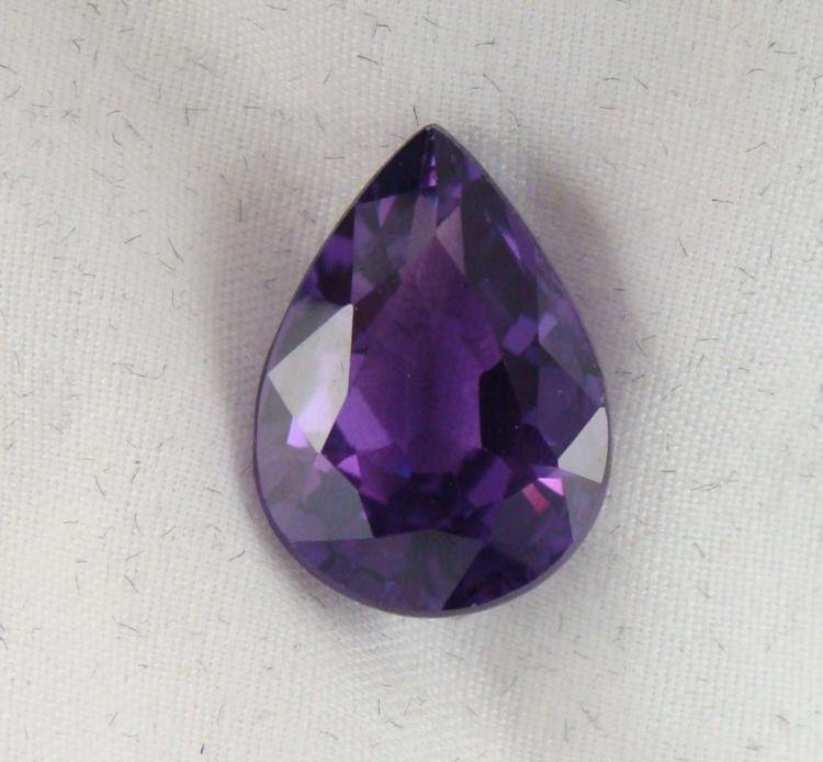 12.48 CT PURPLE/RASPB ALEXANDRITE PEAR GEMSTONE