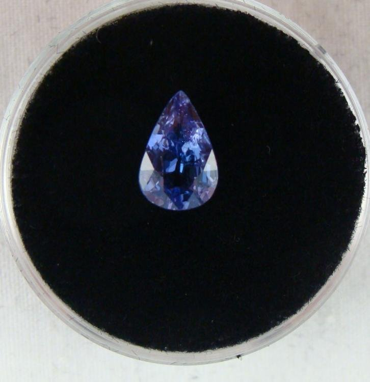 1.23 CT TANZANITE VIOLETISH BLUE PEAR GEMSTONE