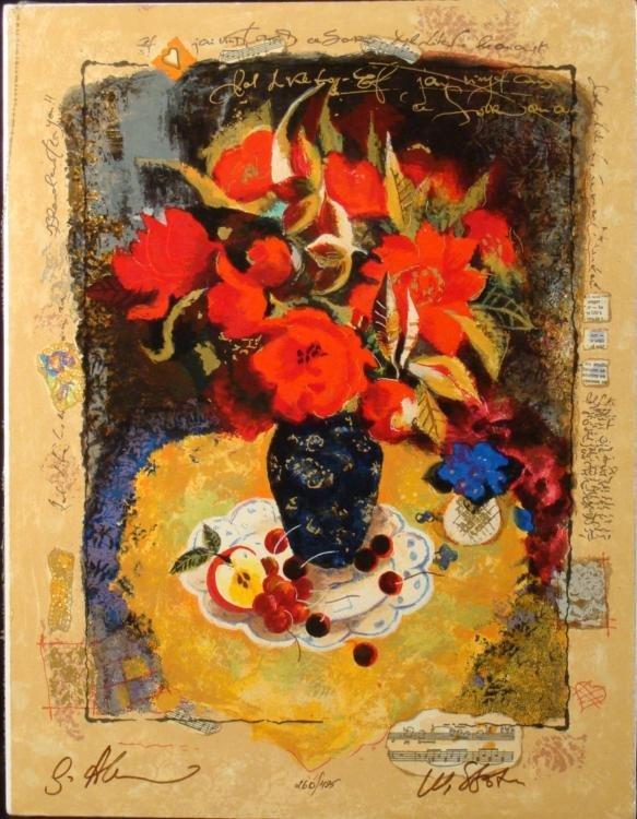 Alexander & Wissotzky Signed Art Print Red Flowers