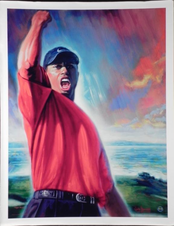 Carlo Beninati Tiger Woods Golf Art Print on Canvas