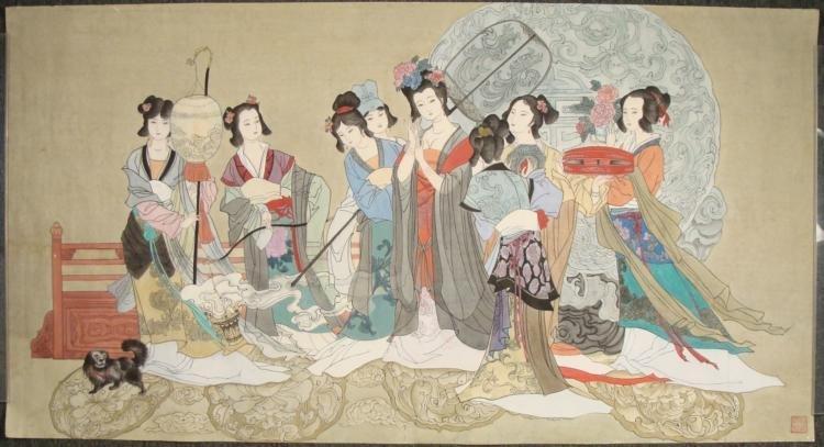 Large Original Japanese Traditional Watercolor Painting
